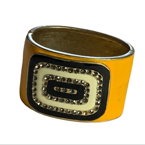 Chunky Bling Enamel Hinged Cuff Statement Bracelet